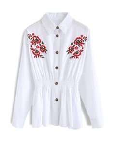 Abloom Elation Embroidered Peplum Top in White