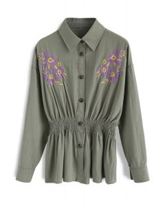 Abloom Elation Embroidered Peplum Top in Army Green
