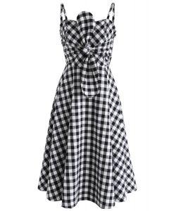 Perky Plaid Bowknot Cami Dress