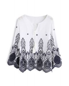 Secret Garden Embroidered Top in White