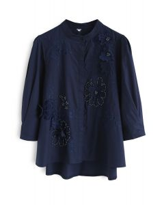 Blooming Fantasy 3D Flower Embroidered Top in Navy
