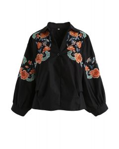 Peony Enthusiasm Embroidered Top in Black