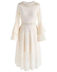 Tender Lace Bell Sleeves Dress in Cream
