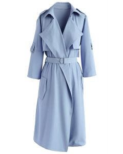 City Of Dreams Mid-Sleeve Chiffon Trench Coat in Dusty Blue