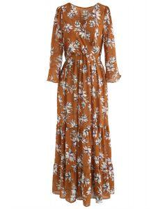 Blooms Fairyland Wrapped Ruffle Chiffon Maxi Dress