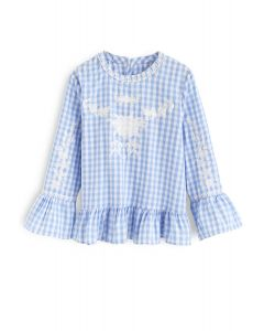 Serene Time Gingham Floral Embroidered Top in Blue