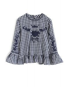 Serene Time Gingham Floral Embroidered Top in Navy
