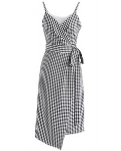 Destiny in Gingham Wrapped Cami Dress in Black