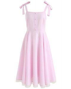 Dashing Darling Bowknot Strap Dress in Pink Gingham
