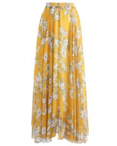 Flower Season Chiffon Maxi Skirt in Yellow