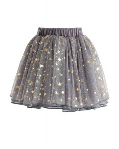Twinkle Star Mesh Tulle Skirt in Grey For Kids