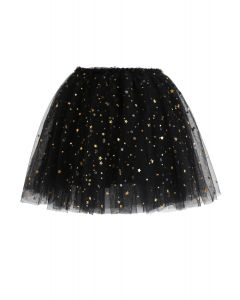 Flickering Star Mesh Tulle Skirt in Black For Kids