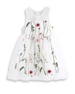 Lost in Flowering Fields Embroidered Mesh Dress in White For Kids