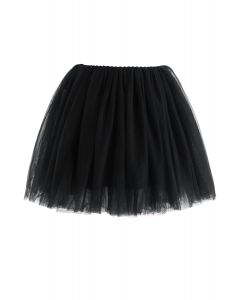 Amore Mesh Tulle Skirt in Black For Kids