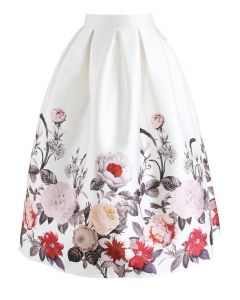 Full Blooming Flowers Printed A-Line Midi Skirt