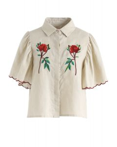 Swing with Wind Floral Embroidered Top in Light Tan