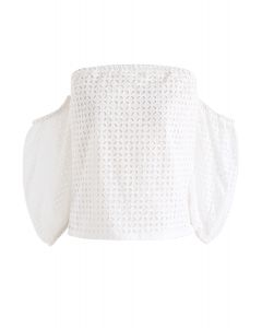 Circle Rotation Embroidered Off-Shoulder Top in White
