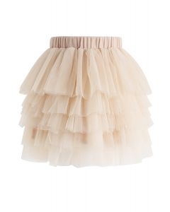 Love Me More Layered Tulle Skirt in Cream for Kids