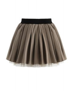 Cherubic Pleated Skirt in Olive For Kids