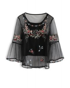 Lithe Floral Embroidered Mesh Top in Black