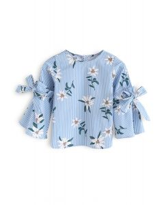 Stripes Charisma Top with Bell Sleeves in Blue For Kids