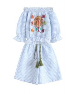 Spring Sun Embroidered Off-Shoulder Top and Pants Set For Kids