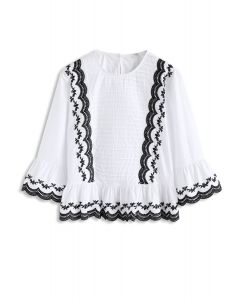 Hit It Off Embroidered Smock Top in White