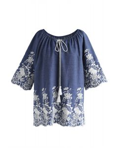 Bright Flowers Embroidered Top in Chambray