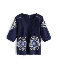 Burst into Bloom Embroidered Top in Navy