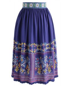 She's a Fairy Boho Embroidered Skirt in Purple