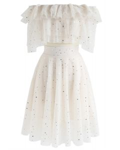 Sparkle Tonight Tiered Mesh Cropped Top and Skirt Set in Cream
