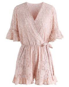 Ode to Floral Lace Playsuit in Dusty Pink