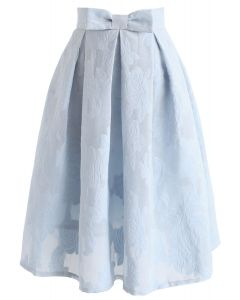 Rose Garden Bowknot Pleated Skirt in Blue