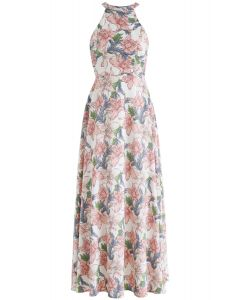 Wonderland of Flowers Halter Neck Maxi Dress