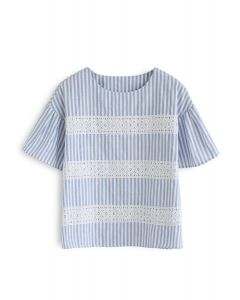 Good to Go Eyelet Embroidered Stripes Top in Blue
