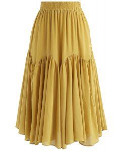 Brightening Your Beauty Midi Skirt in Mustard