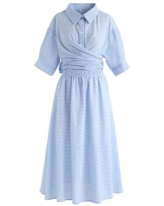 Wrap It Up Midi Dress in Blue Gingham