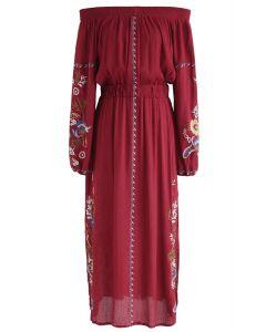 Sunshine Vibe Embroidered Off-Shoulder Dress in Red