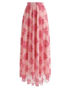Bouquets Full Lace Maxi Skirt in Pink