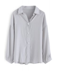 Live in A Comfy Basic Shirt in Dusty Blue