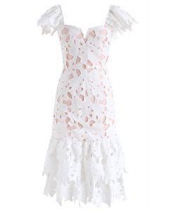 Sense Of Blossom Full Floral Crochet BodyCon Midi Dress in White