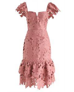 Sense Of Blossom Full Floral Crochet BodyCon Midi Dress in Coral