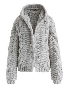 All-Over Warmth Hooded Chunky Cardigan in Grey