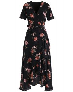 Midsummer Lover Floral Asymmetric Top and Skirt Set in Black
