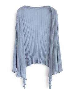Be Real Me Knit Wrap Top in Dusty Blue