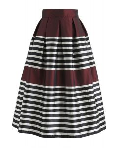 Retro and Classic Pleated Midi Skirt in Wine