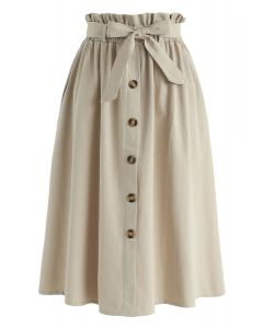 Truly Essential A-Line Midi Skirt in Tan