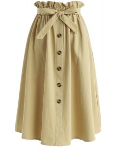 Truly Essential A-Line Midi Skirt in Mustard