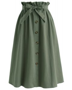 Truly Essential A-Line Midi Skirt in Army Green