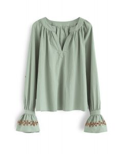 Lucid Dreams Hollow-Out Bell Sleeves Top in Green